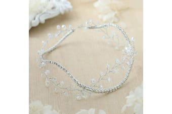 Simsly Wedding Hair Vines Bridal Headbands CRYSTAL Hair Accessories for Brides and Bridesmaids (Silver) FS-148
