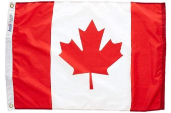 (0.6m x 0.9m) - Annin Flagmakers Model 191334 Canada Flag 0.6m x 0.9m Nylon SolarGuard Nyl-Glo 100% Made in USA to Official United Nations Design Specifications.