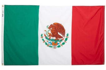 (0.9m x 1.5m) - Annin Flagmakers Model 195706 Mexico Flag 0.9m x 1.5m Nylon SolarGuard Nyl-Glo 100% Made in USA to Official United Nations Design Specifications.