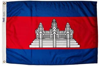(0.6m x 0.9m) - Annin Flagmakers Model 191192 Cambodia Flag 0.6m x 0.9m Nylon SolarGuard Nyl-Glo 100% Made in USA to Official United Nations Design Specifications.