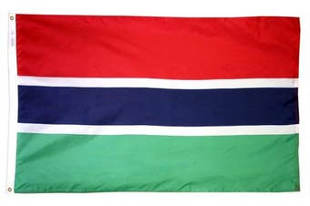 (0.9m x 1.5m) - Annin Flagmakers Model 192827 Gambia Flag 0.9m x 1.5m Nylon SolarGuard Nyl-Glo 100% Made in USA to Official United Nations Design Specifications.