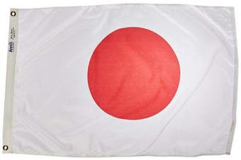 (0.6m x 0.9m) - Annin Flagmakers Model 194304 Japan Flag 0.6m x 0.9m Nylon SolarGuard Nyl-Glo 100% Made in USA to Official United Nations Design Specifications.