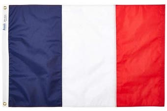 (0.6m x 0.9m) - Annin Flagmakers Model 192682 France Flag 0.6m x 0.9m Nylon SolarGuard Nyl-Glo 100% Made in USA to Official United Nations Design Specifications.