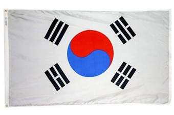 (0.9m x 1.5m) - Annin Flagmakers Model 197606 South Korea Flag 0.9m x 1.5m Nylon SolarGuard Nyl-Glo 100% Made in USA to Official United Nations Design Specifications.