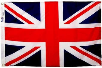 (0.6m x 0.9m) - Annin Flagmakers Model 198890 United Kingdom Flag 0.6m x 0.9m Nylon SolarGuard Nyl-Glo 100% Made in USA to Official United Nations Design Specifications.