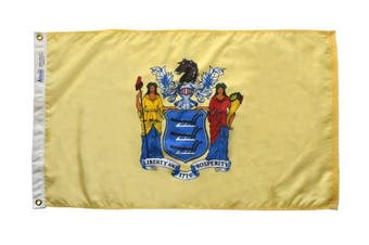 (0.9m x 1.5m) - Annin Flagmakers Model 143660 New Jersey State Flag 0.9m x 1.5m Nylon SolarGuard Nyl-Glo 100% Made in USA to Official State Design Specifications.