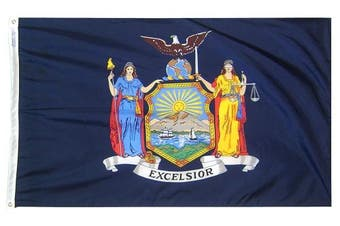 (0.6m x 0.9m) - Annin Flagmakers Model 143850 New York State Flag 0.6m x 0.9m Nylon SolarGuard Nyl-Glo 100% Made in USA to Official State Design Specifications.