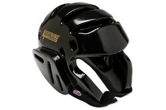 (Youth (Head Circ: 50cm ), Black) - Pro Force Lightning Karate/Martial Arts Headgear