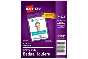 Avery Heavy-Duty Clear Badge Holders, Fits Inserts up to 10cm x 7.6cm , Portrait, 25 Holders (74472)