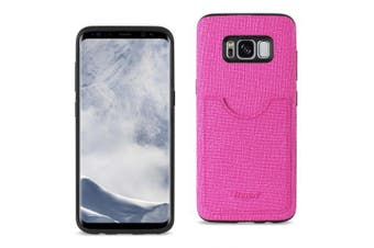 REIKO SAMSUNG GALAXY S8/ SM ANTI-SLIP TEXTURE PROTECTOR COVER WITH CARD SLOT IN HOT PINK