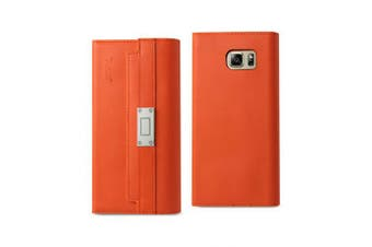 REIKO SAMSUNG GALAXY NOTE 5 GENUINE LEATHER RFID WALLET CASE AND METAL BUCKLE BELT IN TANGERINE