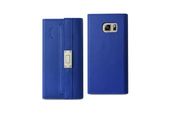 REIKO SAMSUNG GALAXY NOTE 5 GENUINE LEATHER RFID WALLET CASE AND METAL BUCKLE BELT IN ULTRAMARINE