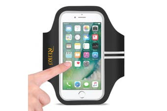 REIKO RUNNING SPORTS ARMBAND FOR IPHONE 7 PLUS/ 6S PLUS OR 14cm DEVICE IN BLACK (14cm x 14cm )
