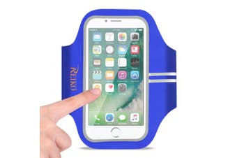 REIKO RUNNING SPORTS ARMBAND FOR IPHONE 7 PLUS/ 6S PLUS OR 14cm DEVICE IN BLUE (14cm x 14cm )