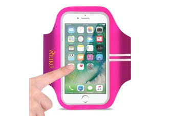 REIKO RUNNING SPORTS ARMBAND FOR IPHONE 7 PLUS/ 6S PLUS OR 14cm DEVICE IN PINK (14cm x 14cm )
