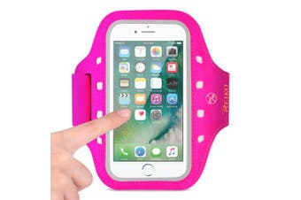 REIKO RUNNING SPORTS ARMBAND FOR IPHONE 7/ 6/ 6S OR 13cm DEVICE WITH LED IN PINK (13cm x 13cm )