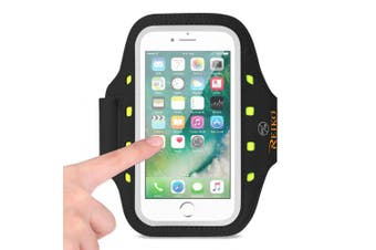 REIKO RUNNING SPORTS ARMBAND FOR IPHONE 7 PLUS/ 6S PLUS OR 14cm DEVICE WITH LED IN BLACK (14cm x 14cm )