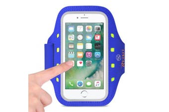 REIKO RUNNING SPORTS ARMBAND FOR IPHONE 7 PLUS/ 6S PLUS OR 14cm DEVICE WITH LED IN BLUE (14cm x 14cm )