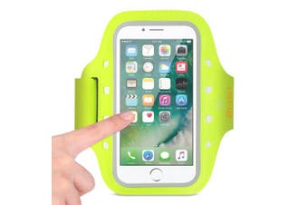 REIKO RUNNING SPORTS ARMBAND FOR IPHONE 7 PLUS/ 6S PLUS OR 14cm DEVICE WITH LED IN GREEN (14cm x 14cm )