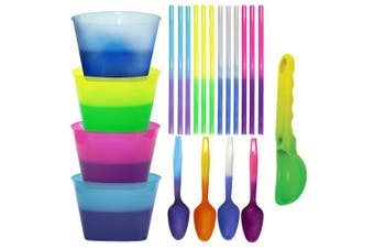 Colour Changing Reusable Ice Cream Kit - 4 bowls, 4 spoons, 12 straws, 1 scoop