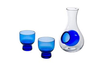 (Blue) - Hinomaru Collection Japanese Cold Sake Glass 270ml Decanter Bottle with Ice Pocket Two 90ml Blue Cups Sake Set