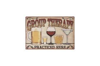 Decorative Kitchen Signs, Metal 9x12 Wall Signs, 'Group Therapy Practised Here' Kitchen Signs, Vintage Wall Decor for Home & Kitchen, Funny Metal Wall Decor, Funny Kitchen Decor, Vintage Home Decor