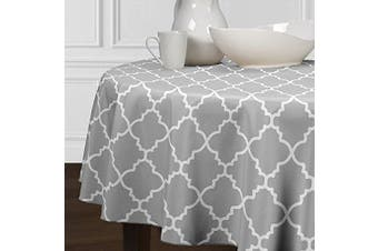 A LuxeHome Grey and White Modern Contemporary Trellis Tablecloths Dining Room Kitchen Round 210cm