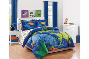 (Twin Comforter) - Fancy Collection 5pc Comforter Set Dinosaur White Blue Orange Green New