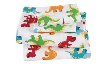 (Full) - Fancy Collection 4pc Full Size Sheet Set Dinosaur White Red Blue Orange Yellow Beige New