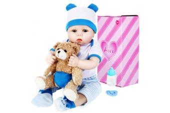 (BEAR BOY) - Aori Lifelike Reborn Baby Boy Doll 60cm Handmade Weighted Reborn Baby Doll with Bear Toy