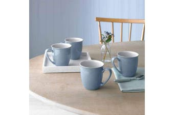 (Blue) - Denby Elements 4 Piece Coffee/Beaker Mug Set, Blue