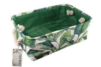 (Green plant) - Rectangular Fabric Storage Bin Laundry Basket Nursery Storage Hamper,Book Bag,Gift Baskets (Green Plant)