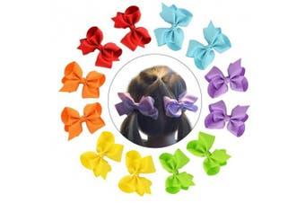(10cm , 12pcs) - CHLONG 12pcs 10cm Pure Colour Grosgrain Ribbon Hair Bow Clips Set for Girls Toddlers Kids Teens (10cm -12pcs)