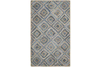 (0.6m x 0.9m, Natural / Blue) - Safavieh Cape Cod Collection CAP354A Hand Woven Flatweave Diamond Geometric Natural and Blue Jute Area Rug (0.6m x 0.9m)