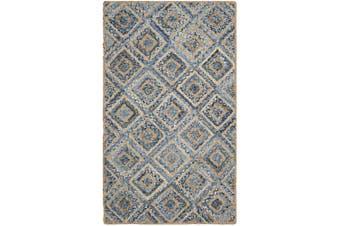 (0.6m x 0.9m, Natural / Blue) - Safavieh Cape Cod Collection CAP354A Hand Woven Flatweave Diamond Geometric Natural and Blue Jute Area Rug (0.6m x 0.9m)