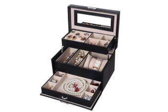 BEWISHOME Lockable Jewellery Box 3-Layer Portable Jewellery Display Storage Case Mirrored Earring Ring Necklace Holder Organiser Travel Case for Women Girls - Black Faux Leather SSH77B