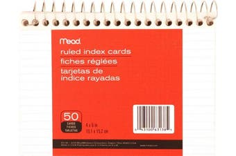Mead Wirebound Ruled Index Cards, 10cm X 15cm (63138)