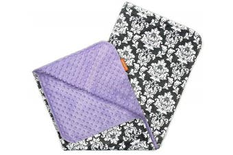 (White Damask, Lavender) - Dear Baby Gear Deluxe Baby Blankets, Custom Minky Print Double Layer Grey and White Damask, Lavender Minky Dot, 100cm by 70cm