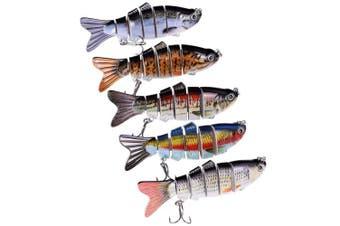 (MIX-COLOR(5PCS)) - BOMSO 5pcs/1pc Fishing Lure 6 Segment Swimbait Crankbait Rugged and Durable Lifelike Hard Bait 18g 10cm with 6# Fishing Hook