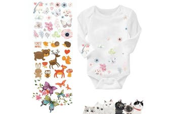 (patches_1) - Artem 4 Set Baby Iron On Patch Heat Transfer Patches with Lovely Cartoon Animal Bird Flowers Butterfly Cat Design for DIY Decoration Kid's Clothes Washable Appliques Stickers