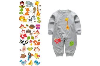 (patches_3) - Artem 4 Set Patches for Kids Clothes Washable Heat Transfer Iron Stickers Appliques Lovely Cartoon Animal Car Patch DIY Baby T-Shirt,Dress