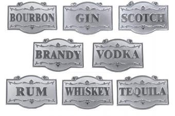 Amlong Plus Deluxe Set of Liquor Tags for Bottles or Decanters, Silver Colour, Set of 8 With Adjustable Chain Features (Bourbon, Brandy, Gin, Rum, Scotch, Tequila, Vodka, and Whiskey)