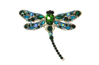 (Gold-Tone Green) - EVER FAITH Dragonfly Teardrop Brooch Pin Austrian Crystal