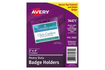 Avery Heavy-Duty Clear Badge Holders, Fits Inserts up to 7.6cm x 10cm , Landscape, 25 Holders (74471)