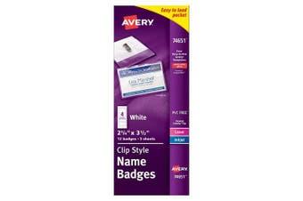 Avery Top-Loading Garment-Friendly Clip Style Name Badges, 5.1cm - 0.6cm x 7.6cm - 1.3cm , Pack of 12 (74651)