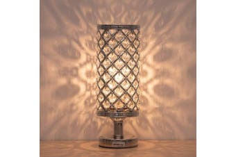 (BD017S) - HAITRAL Crystal Table Lamp - Silver Bedside Desk Lamp with Crystals Lamp Shade Metal Base Decorative Room Night Light Lamps for Living Room, Bedroom, Bedside Table, Ideal Gifts (HT-BD017S)