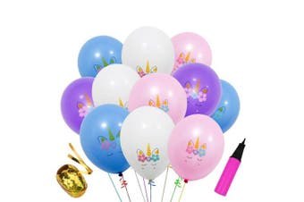 (Assorted Color) - 40 Pcs 30cm Unicorn Birthday Balloons for Unicorn Theme Party, Kids Birthday Party, Baby Shower, Festival Party Decorations (Assorted Colour)