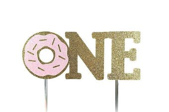 (Pink) - Handmade 1st First Donut Birthday Cake Topper Decoration - one - Made in USA with Double Sided Gold Pink Glitter Stock