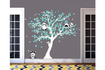 (White and Blue) - MAFENT Tree Wall Decals for Kids Room with Three Little Panda Bears Wall Stickers Nursery Wall Decals Room Decoration (White and Blue)