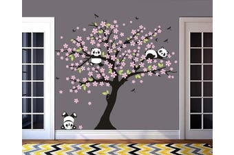 (Pink) - MAFENT Tree Wall Decals for Kids Room with Three Little Panda Bears Wall Stickers Nursery Wall Decals Room Decoration (Pink)